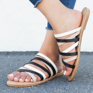 NEW🔥 Strappy Open Toe Gladiator Flat Sandal Slide